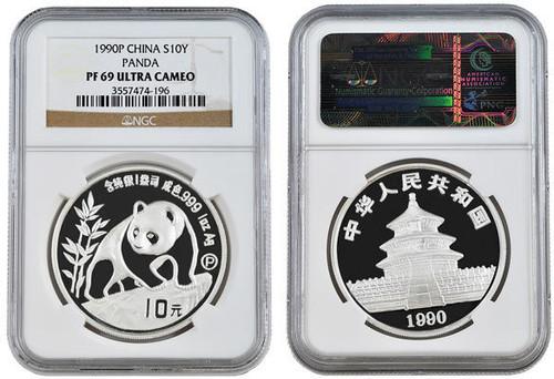 China 1990 Panda 1 oz Silver Coin - NGC PF-69 Ultra Cameo