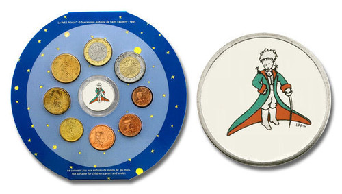 France 2002 Little Prince Colored Medallion Featured in Euros Mint Set