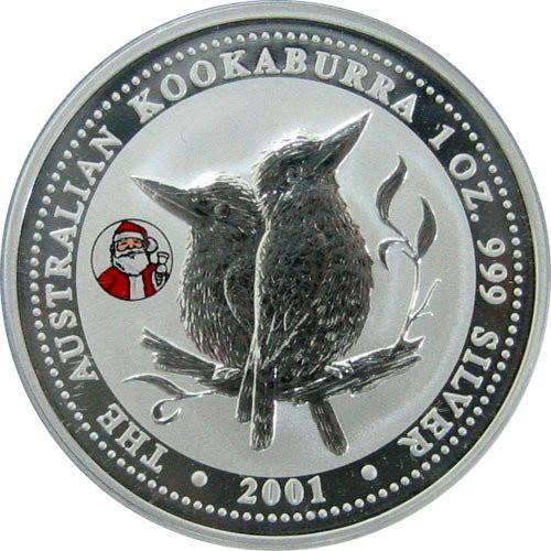 Australia 2001 Kookaburra Santa Privy Christmas 1 oz Silver BU Coin