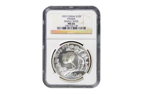 China 1997 Panda 1 oz Silver BU Coin - Small Date - NGC MS-66