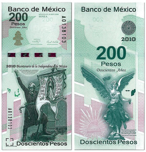 Mexico 2010 Mexican New Banknotes 2-pc Set-Commemorate the Centennial of the Mexican Revolution and the Bicentennial of the Mexican Independence