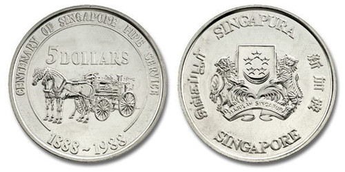 Singapore 1988 Fire Fighters Horse-Drawn Engine Five Dollars Unc Coin