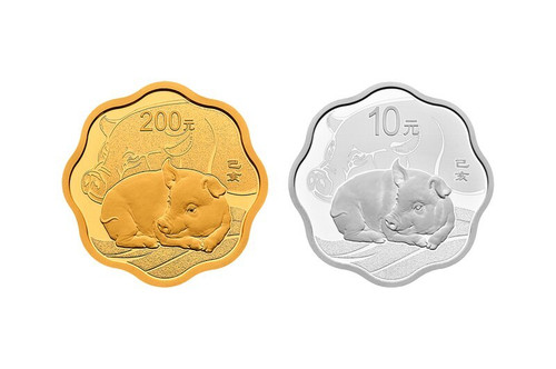China 2019 Year of the Pig 15 grams Gold and 30 gram Silver Proof 2-Coin Set - Flower Shaped
