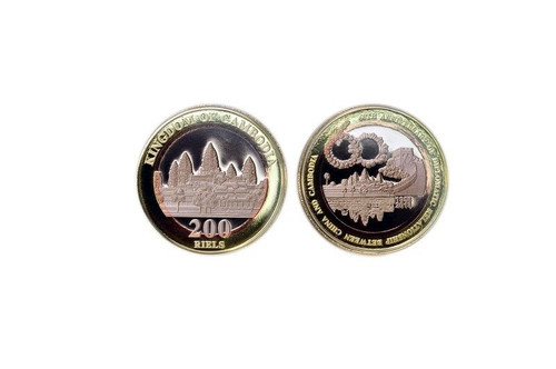 Cambodia 2018 60th Anniversary of Diplomatic Relations Between China and Cambodia Tri-metal Proof Piedfort Coin
