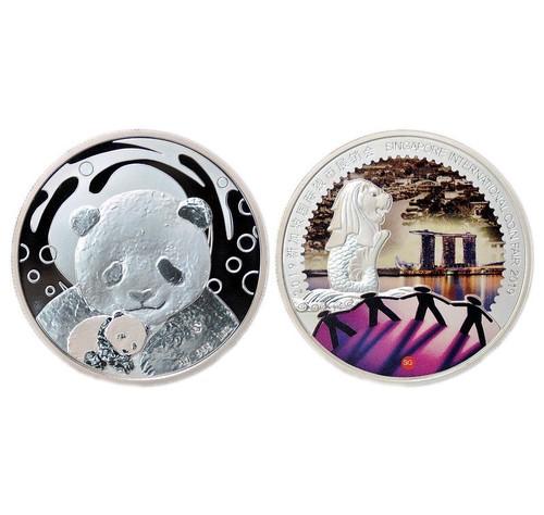 China 2019 Panda Singapore International Coin Fair SICF - 1 oz Silver Proof Commemorative