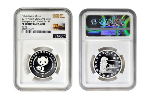 China 2019 Panda Singapore International Coin Fair SICF - 39 Grams Silver Piedfort Proof Commemorative - NGC PF-70 Ultra Cameo Early Release Label