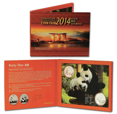 China 2014 and 2011 Panda 1 oz Silver BU 2-Coin Set - with exclusive packaging signed by designer Rocky Zhao