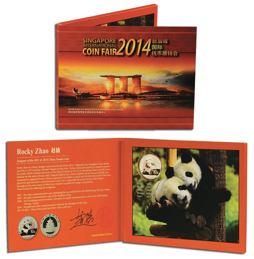 China 2014 Panda 1 oz Silver BU Coin - with exclusive packaging signed by designer Rocky Zhao