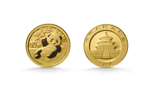 China 2020 Panda 1 Gram Gold BU Coin