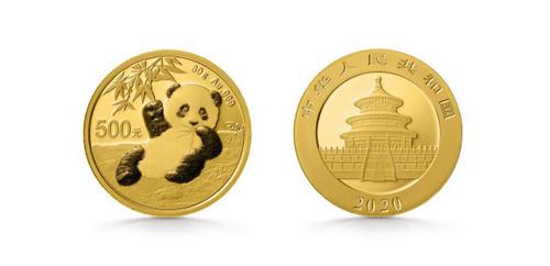 China 2020 Panda 30 Gram Gold BU Coin