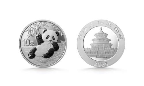 China 2020 Panda 30 Gram Silver BU Coin