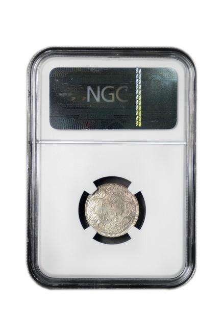 British-India 1862 C 1862 Silver 1/4 Rupee NGC Graded MS-63