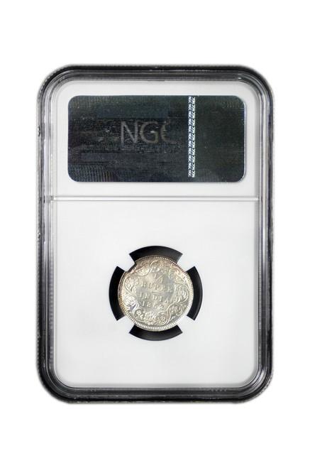 British-India 1862 C 1862 Silver 1/4 Rupee NGC Graded MS-64