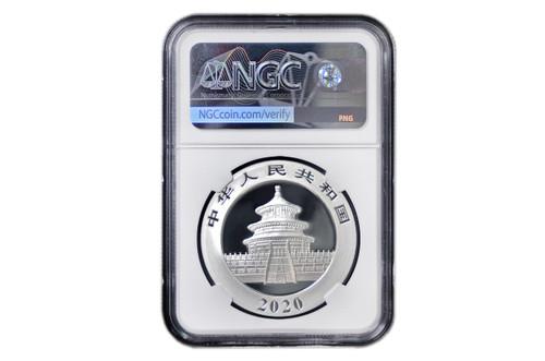 China 2020 Panda 30 Gram Silver BU Coin - NGC MS-70
