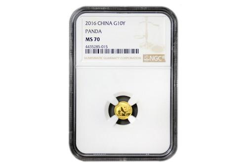 China 2016 Panda 1 gram Gold BU Coin - NGC MS-70