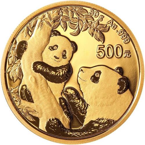 China 2021 Panda Gold 30 grams BU Coin