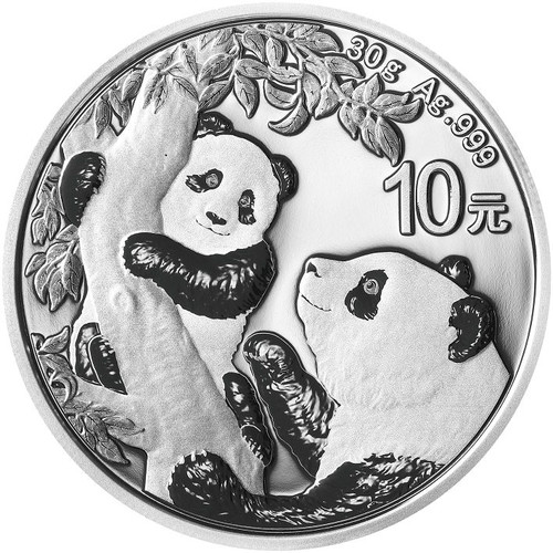 China 2021 Panda Silver 30 grams BU Coin