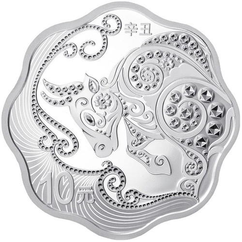 China 2021 Year of the Ox 30 grams Silver Proof Coin - Flower Shaped