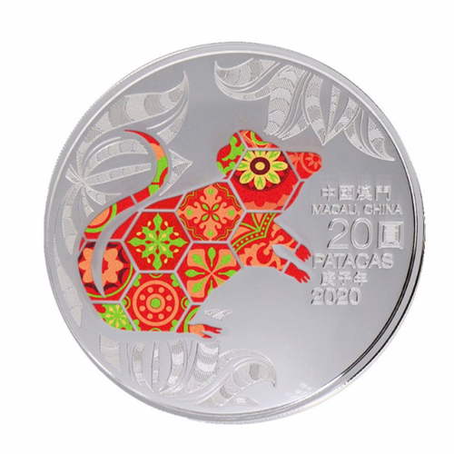 Macau 2020 Year of the Rat 1 oz Silver Proof Coin - Color