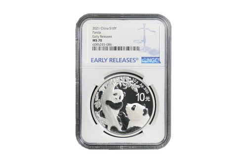 China 2021 Panda 30 grams Silver BU Coin - NGC MS-70 Early Release
