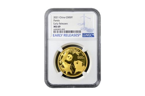 China 2021 Panda 30 grams Gold BU Coin - NGC MS-69 Early Release