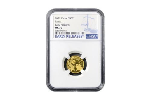 China 2021 Panda 3 grams Gold BU Coin - NGC MS-70 Early Release