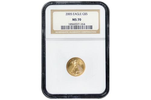 USA 2005 eagle 1/10 oz Gold BU Coin - NGC MS-70