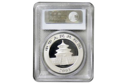 China 2008 Panda 1 oz Silver BU Coin - PCGS MS-70