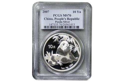China 2007 Panda 1 oz Silver Coin - PCGS MS-70