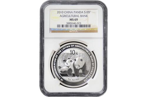 China 2010 Panda 1 oz Silver Coin - Agricultural Bank of China Co. Ltd. - NGC MS-69