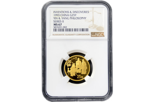 China 1993 Inventions and Discoveries of China Series - Fu Lu Shu - Taiji Diagram 1/4 oz Gold Prooflike Coin - NGC MS-67
