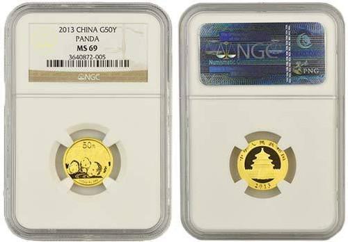 China 2013 Panda 1/10 oz Gold Coin - NGC MS-69