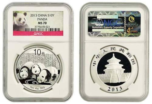 China 2013 Panda 1 oz Silver Coin - NGC MS-70