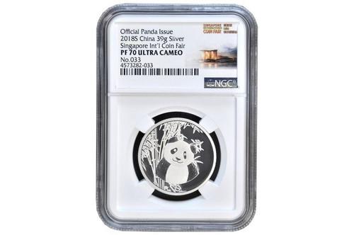 China 2018 Panda Singapore International Coin Fair - 39 grams Silver Piedfort Commemorative - NGC PF-70 UC