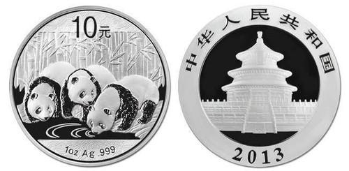China 2013 Panda 1 oz Silver BU Coin