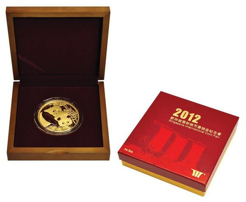 China 2012 Panda - Singapore International Coin Fair - 5 oz Gold Proof Medal