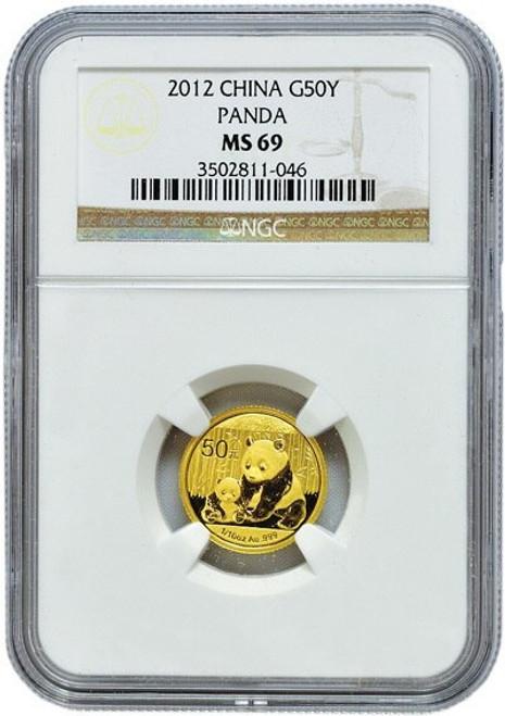 China 2012 Panda 1/10 oz Gold Coin - NGC MS-69
