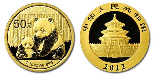 China 2012 Panda 1/10 oz Gold BU Coin