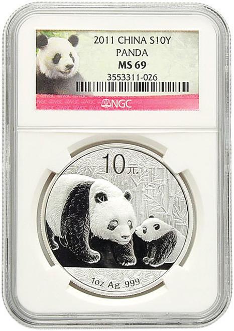 China 2011 Panda 1 oz Silver Coin - NGC MS-69 Panda Label