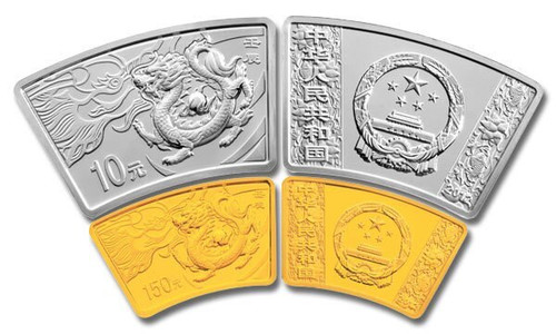 China 2012 Year of the Dragon 1/3 oz Gold and 1 oz Silver 2-Coin Set - Fan-Shaped