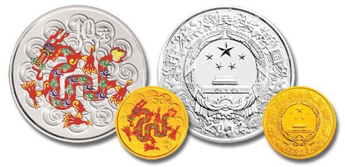 China 2012 Year of the Dragon 1/10 oz Gold and 1 oz Silver Colorized 2-coin Set