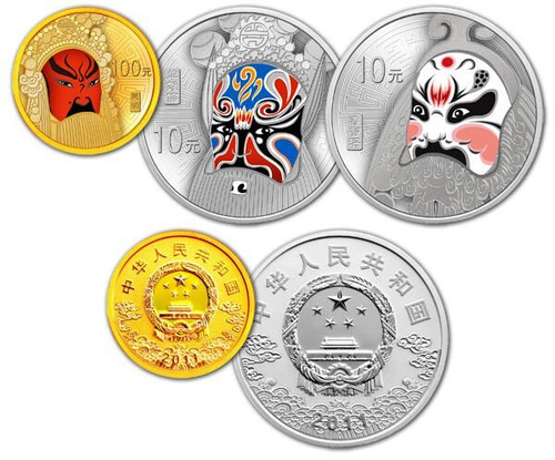 China 2011 Peking Opera 1/4 oz Gold and 1 oz Silver Proof 3-pc Set - Facial Mask - Series II