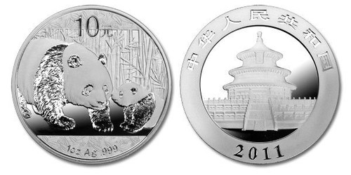 China 2011 Panda 1 oz Silver BU Coin