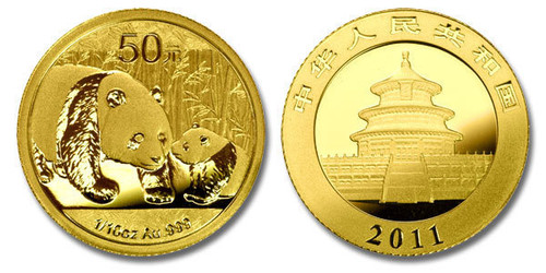 China 2011 Panda 1/10 oz Gold BU Coin