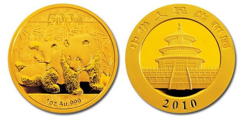 China 2010 Panda 1 oz Gold BU Coin