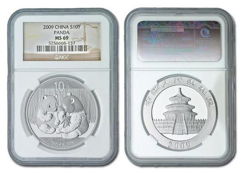 China 2009 Panda 1 oz Silver Coin - NGC MS-69