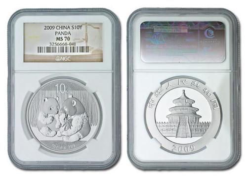 China 2009 Panda 1 oz Silver Coin - NGC MS-70