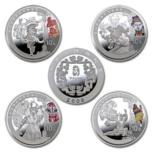 China 2008 Beijing Olympic Games Silver 4-Coin Set - Series III