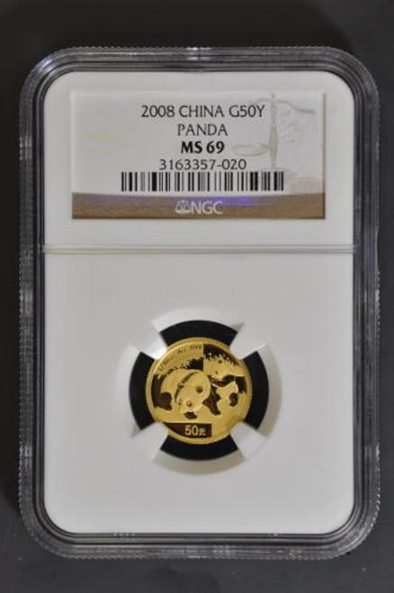 China 2008 Panda 1/10 oz Gold Coin - NGC MS-69