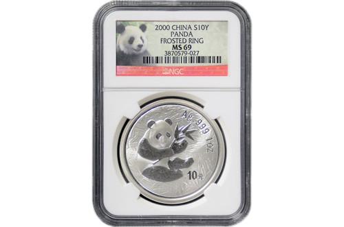China 2000 Panda 1 oz Silver Coin - Froster Ring - NGC MS-69 Panda Label
